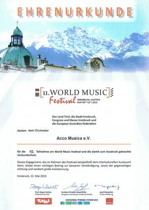 Ehrenurkunde anlässlich der 10. Teilnahme von AccoMusica